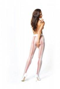 MissO białe rajstopy ze szwem z serduszek i otworkiem w kroku roz.L/XL