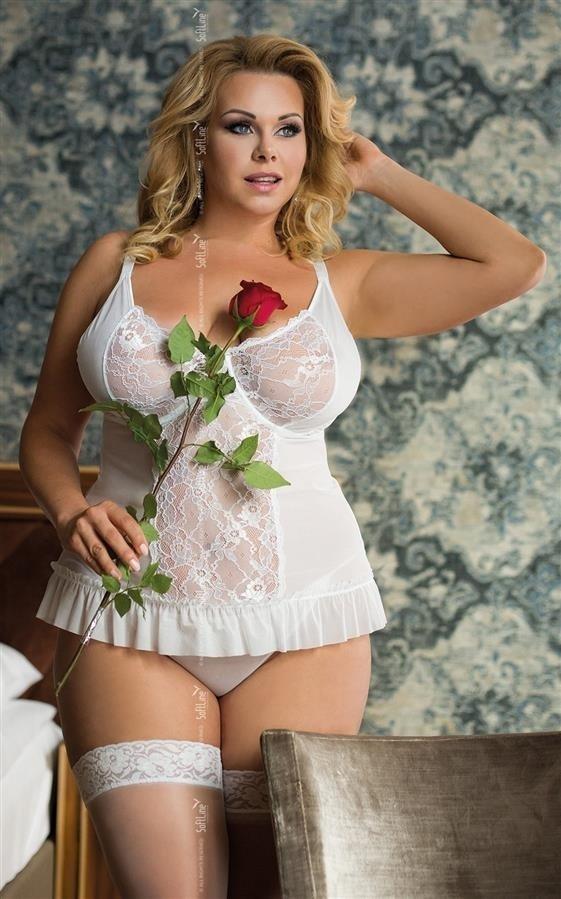 Adel erotyczny biały komplet gorset - koszulka przód