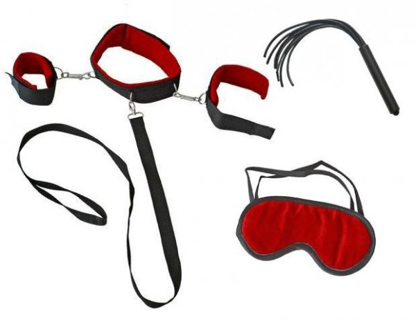 Dark Horn Collar Fem Whip+ zestaw BDSM