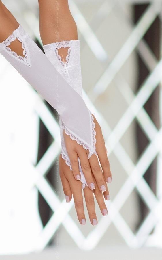 Białe długie rękawiczki na palec SoftLine Gloves