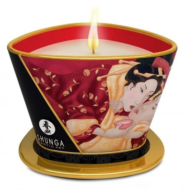 Shunga Romance Truskawkowa świeczka olejek do masażu