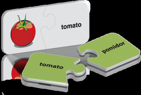 zZuple. Fruits & Vegetables. Dwustronne puzzle do nauki języka angielskiego: Owoce i warzywa