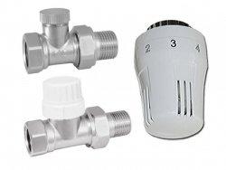 Zestaw termostatyczny głowica i zawory proste