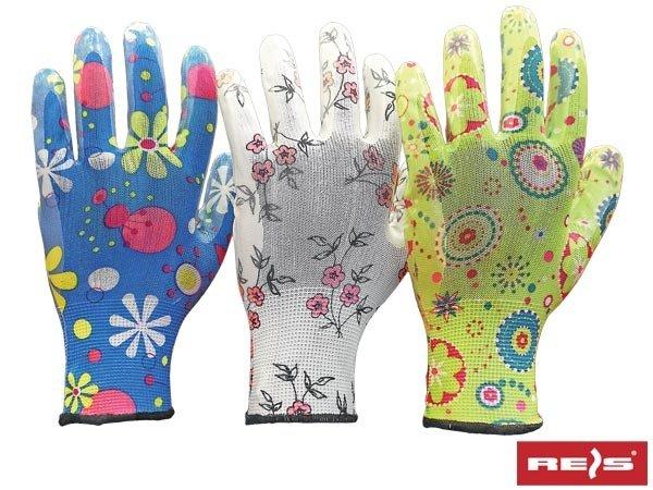Rękawice ogrodowe damskie nitrylowe R-9 3 pary