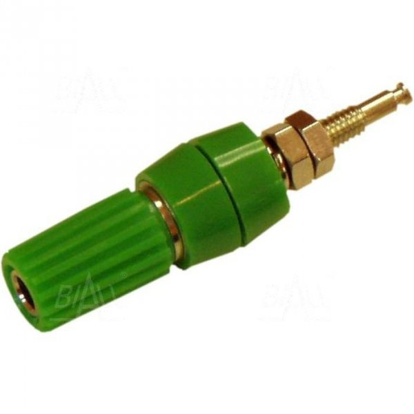 Gniazdo panelowe 4mm z zaciskiem GL1-GN 10A, zielony