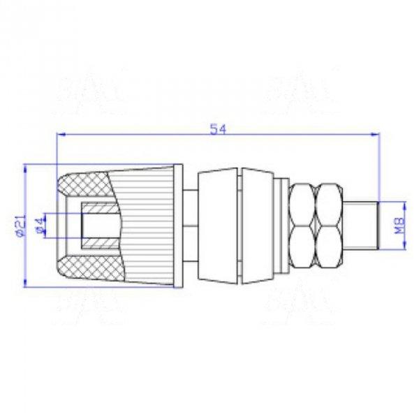 Gniazdo panelowe 4mm z zaciskiem GLZ933-R 60A, czerwony