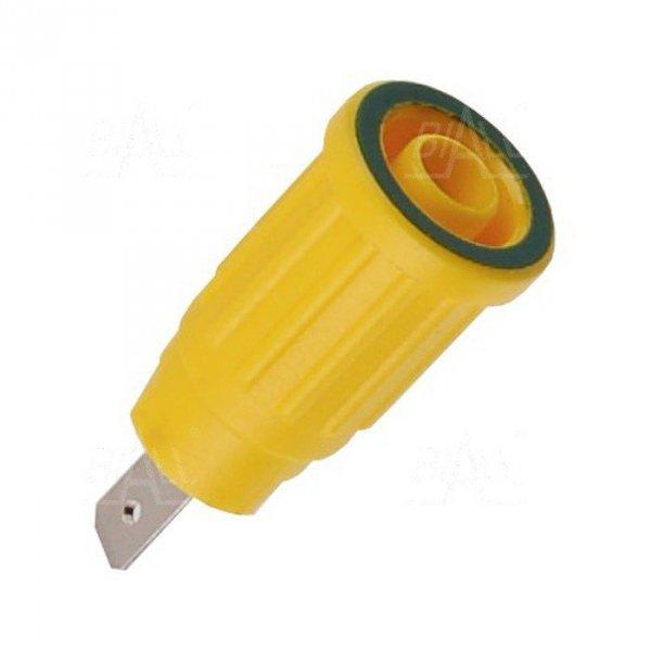 Gniazdo panelowe bezp. 4mm wcisk. SEPB1773-GY 24A CATII 1,5kV żółto-zielony