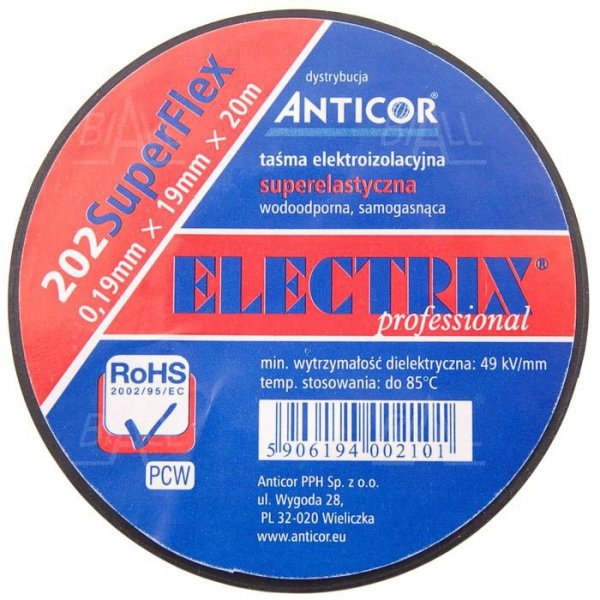 Taśma ELECTRIX 202 SuperFlex PCW 19mmx20m BK czarna