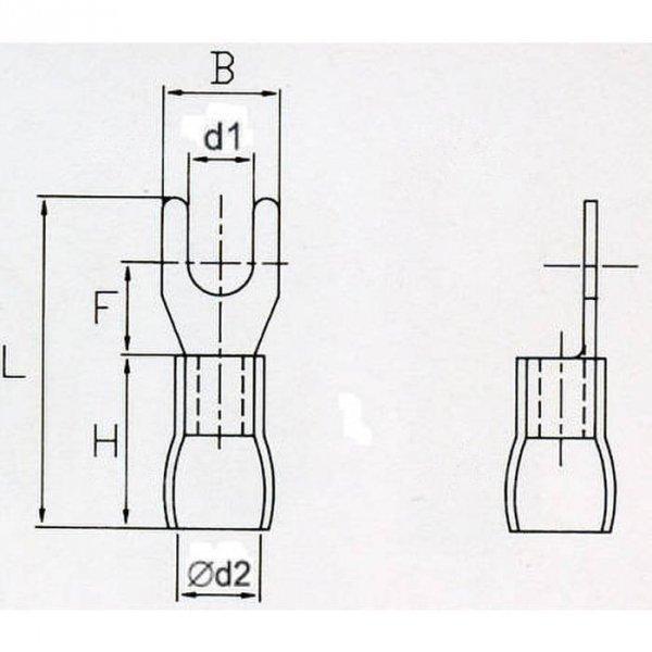 KWR3,5S Końcówka widełkowa izol. M3,5 100szt