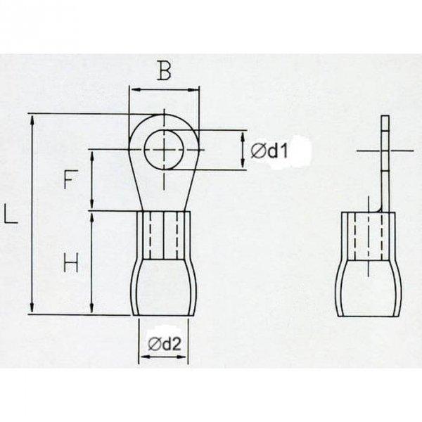 OKY4 Końcówka oczkowa izol. M4 100szt