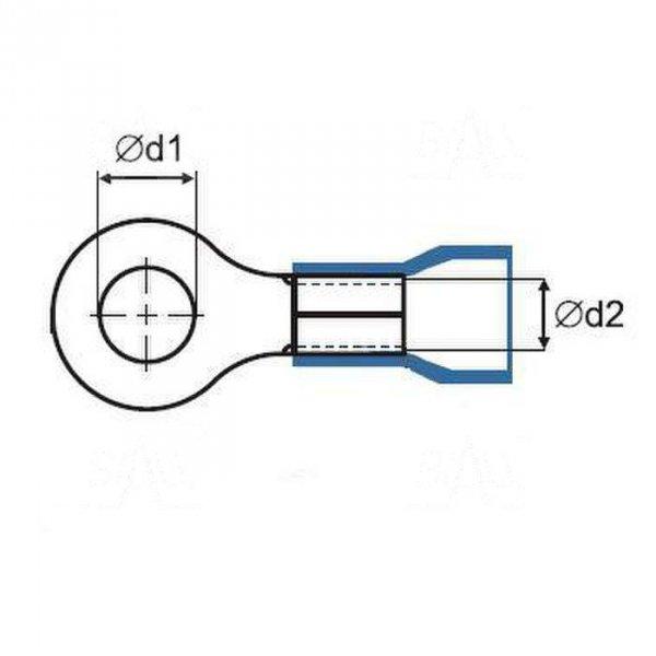 ZKO-16mm2/8.5 R Końcówka oczkowa złocona M8