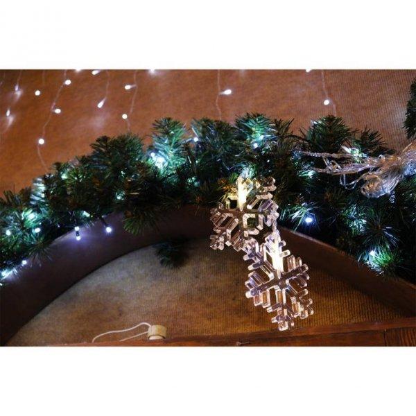 KURTYNA ŚWIETLNA 10 LED śNIEŻYNKI LAMPKI ŚWIĄTECZNE
