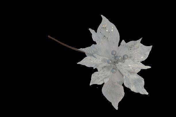 Gałązka kwiatowa poinsecja welurowo tiulowa posrebrzana - BXT330