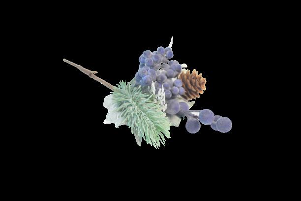 Gałązka dekoracyjna iglasta z szyszka jagodami 23 cm