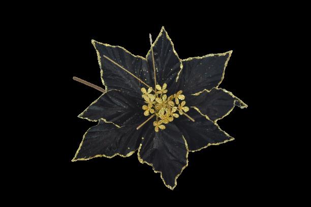 Gałązka kwiatowa aksamitna ze złotym brzegiem - BXT1340
