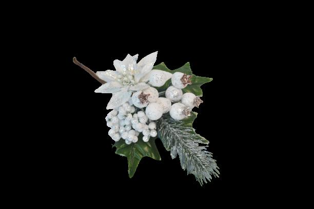 Pik dekoracyjny białe owoce poinsecja posrebrzany 21 cm - BXT130
