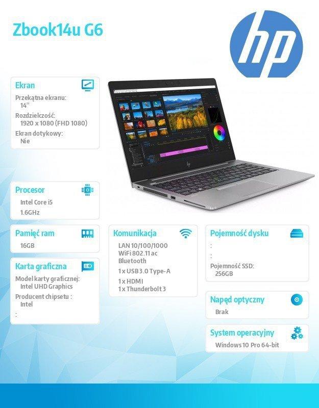 HP Inc. Notebook Zbook14u G6 i5-8365U 256/16/W10P/14  6TP81EA