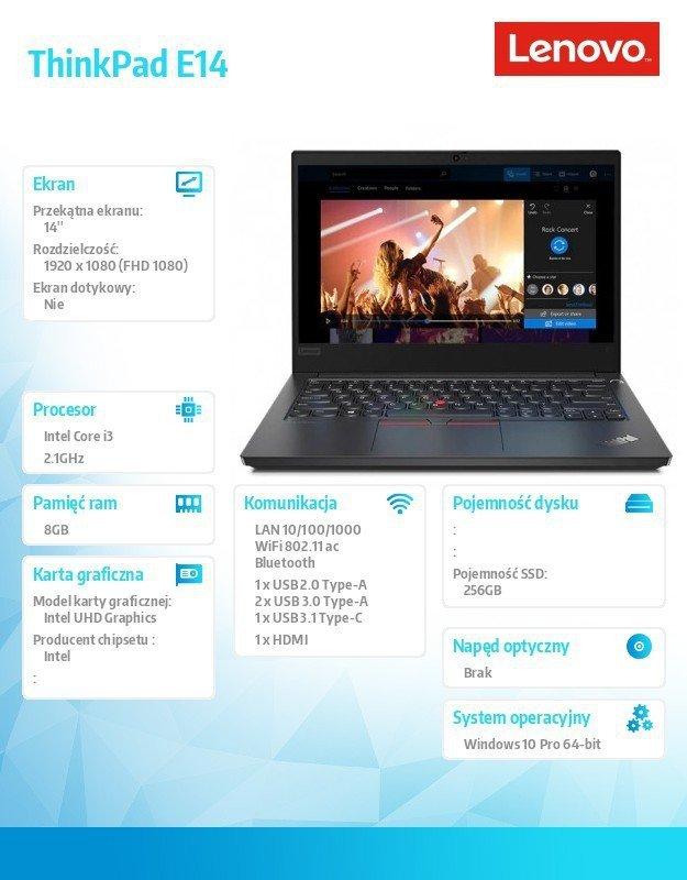 Lenovo Laptop ThinkPad E14 20RA000WPB W10Pro i3-10110U/8GB/256GB/INT/14.0 FHD/Black/1YR CI