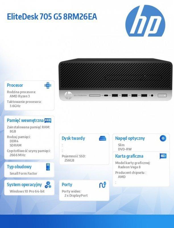 HP Inc. Komputer 705SFF G5 R3-3200 256/8G/DVD/W10P 8RM26EA
