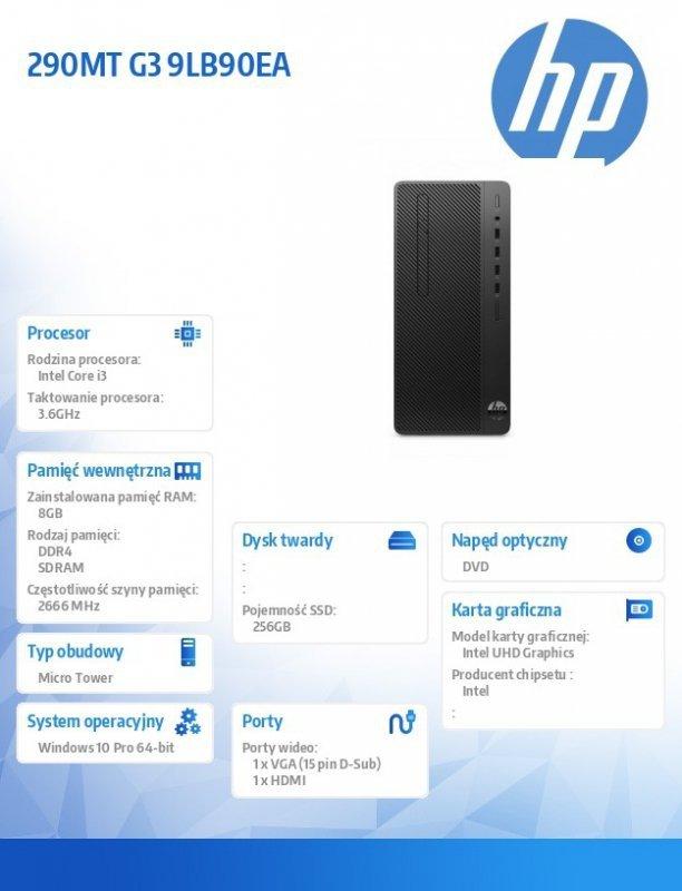 HP Inc. Komputer 290MT G3 i3-9100 256/8G/DVD/W10P 9LB90EA