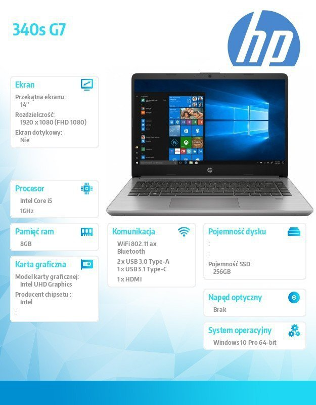 HP Inc. Notebook 340s G7 i5-1035G1 256/8G/W10P/14   8VV01EA