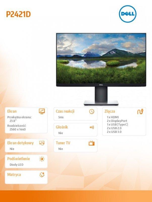 Dell Monitor  P2421DC 23.8 cala IPS LED QHD (2560x1440) /16:9/HDMI(1.4)/DP(1.2)/USB-C/4xUSB 3.0/3Y PPG