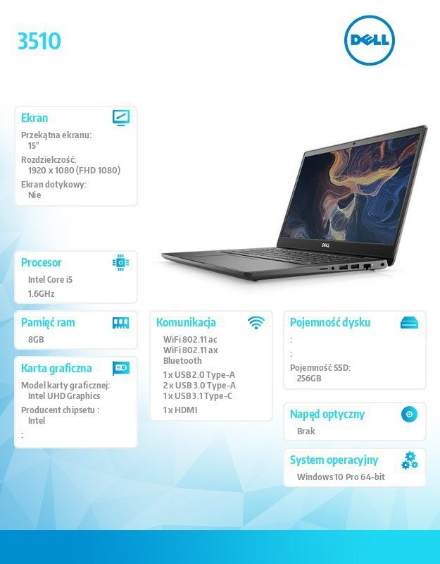 "Dell Notebook Latitude 3510 Win10Pro i5-10310U/512GB/8GB/UHD 620/15.6""FHD/KB-Backlit/4 cell/3Y BWOS"