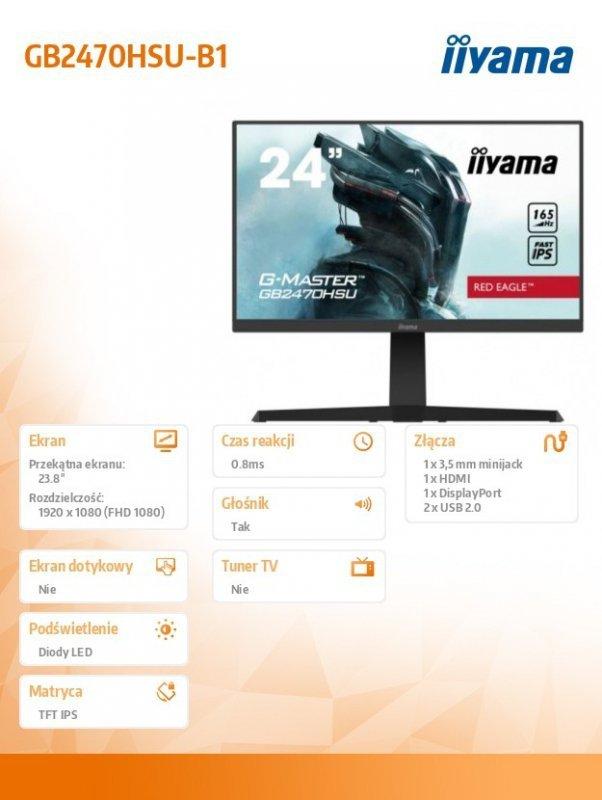 IIYAMA Monitor 23.8 cala GB2470HSU-B1 0,8ms,HDMI,DP,IPS,PIVOT,FreeSync,USB