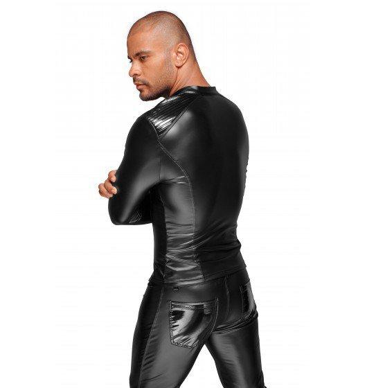 Bluza  Powerwetlook men's jacket with pleated PVC epaulets S