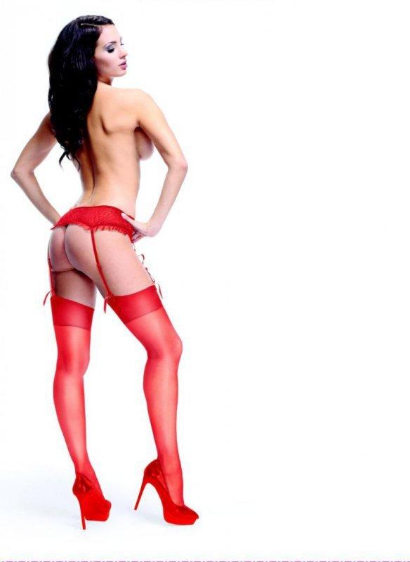 Pończochy do pasa - MissO S101 Czerwone S/M