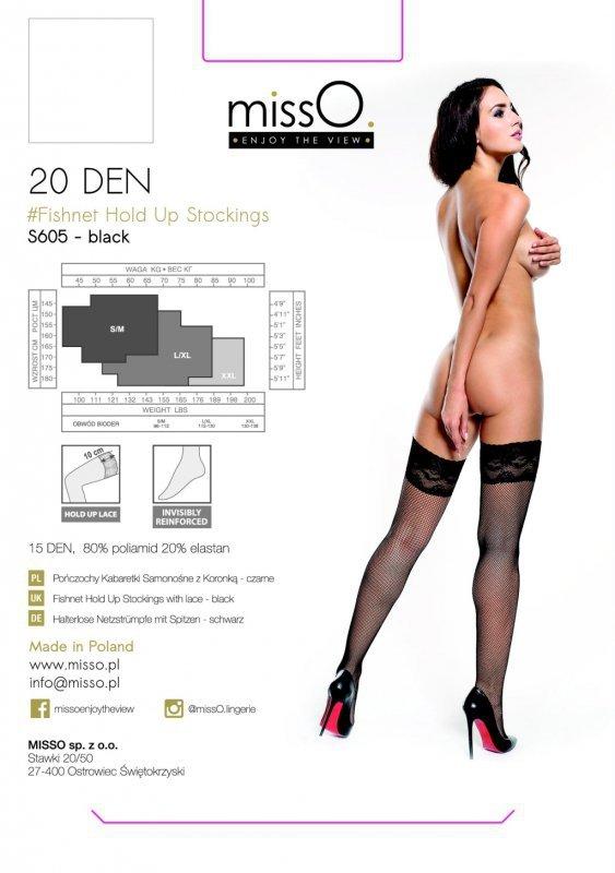 Pończochy samonośne - MissO S605 Czarne L/XL