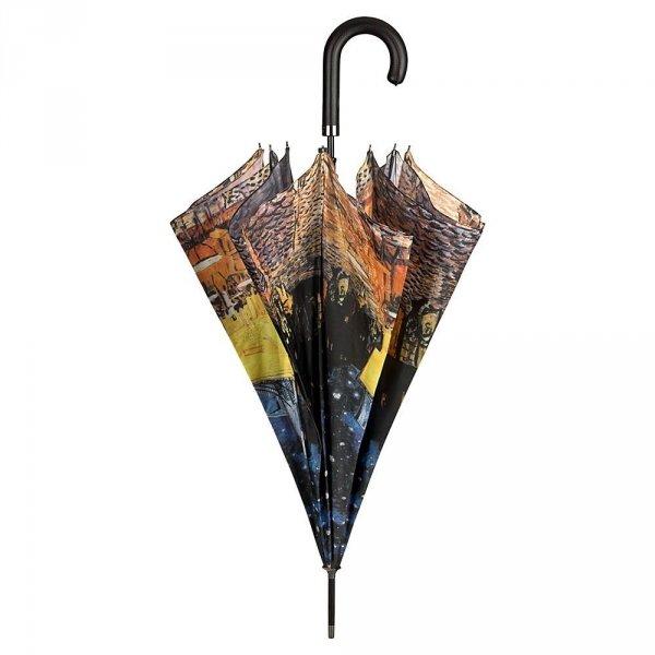 """Vincent van Gogh """"Kawiarniany taras"""" parasol długi delux ze skórzaną rączką"""