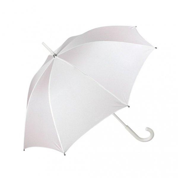 Biała gładka parasolka ślubna Perletti