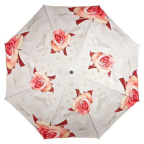 Kremowe róże Parasol długi ze skórzaną rączką