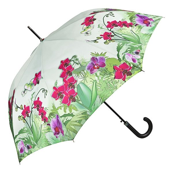 Orchidee - parasol długi ze skórzaną rączką