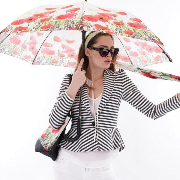 Maki - parasol długi ze skórzaną rączką