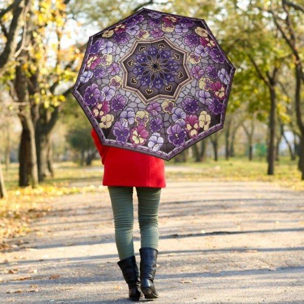Witraż bratki - parasolka składana Galleria