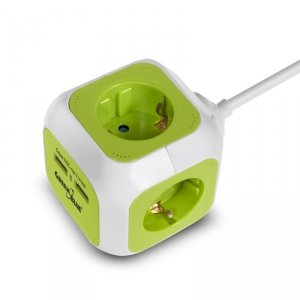 MagicCube poczwórne gniazdko prądowe, 2 wejścia usb 1,4m GreenBlue GB118G wersja niemiecka