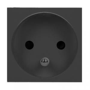 NOEN FR, gniazdo modułowe 45x45mm 1x2P+Z, typ E french, 16A 250V, czarne