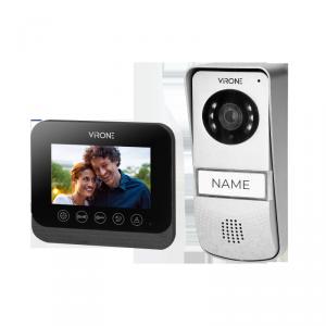Zestaw wideodomofonowy bezsłuchawkowy, kolor, 4,3 LCD,  z czytnikiem breloków zbliżeniowych, czarny, ENIF RFID