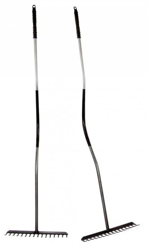12278 Grabie 16-zębne trzon gięty  metalowy grafitowe plastikowa rączka