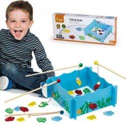 Łowienie Rybek Ryb Drewniana Gra Rodzinna Viga Toys Magnes