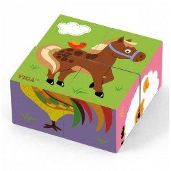 Drewniana układanka Farma Puzzle Viga Toys 4 klocki