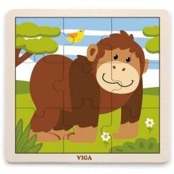 VIGA Poręczne Drewniane Puzzle Goryl 9 elementów