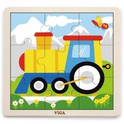 VIGA Poręczne Drewniane Puzzle Pociąg 9 elementów