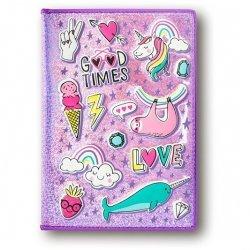 Zeszyt pamiętnik różowy metaliczny Leniwiec