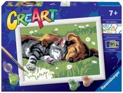 Malowanka CreArt dla dzieci Śpiący kotek z pieskiem