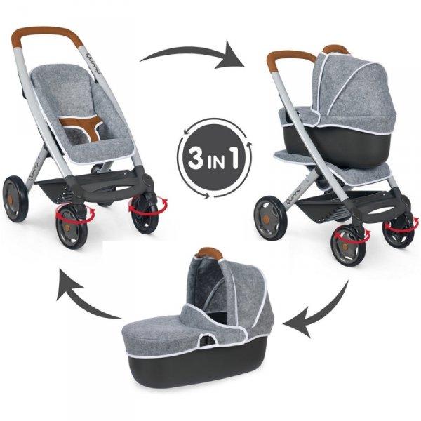 Smoby Wózek 3w1 Spacerówka Gondola Maxi Cosi Filcowy dla Lalek