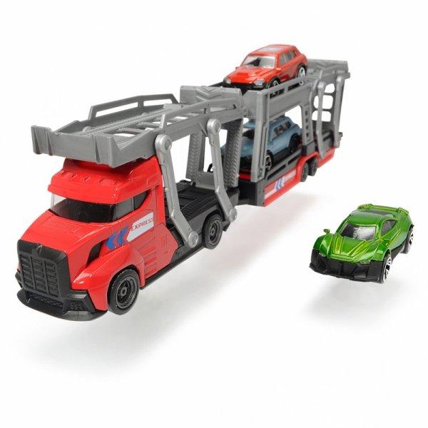 DICKIE CITY Laweta z 3 samochodami Czerwona