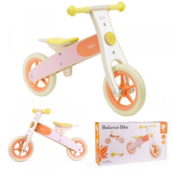 CLASSIC WORLD Drewniany Rowerek Biegowy dla Dzieci Ciche Koła Pomarańczowy